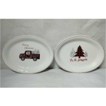 Farm house Christmas Truck and Tree  Oval Platters, Set of 2