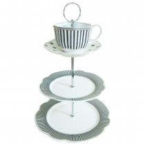 Scallop Navy Large 3 Tier Serving Tray, Plates and Cup Saucer Set