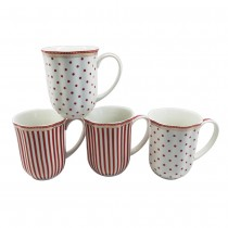 Red Josephine Coffee Mugs. S/4
