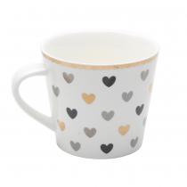 Black Gold Grey Heart Coffee Mugs, Set of 4