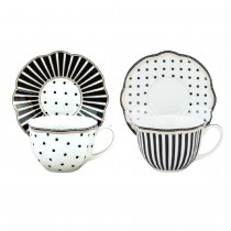 2 assorted Black Josephine Tea/Coffee Cups and Saucers, Set of 4