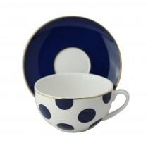 Polka Dots Navy Blue Latte Cup Saucer, Set of 4