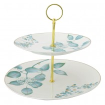 Mint Leaf 2 Tier Serving Tray