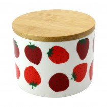 Strawberry Bambo Lid Small Canisters, Set of 4