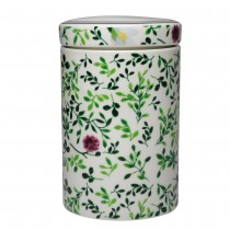 Green Leave Porcelain Lid Canisters