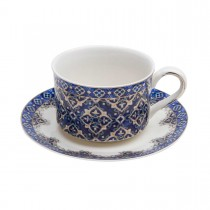 Blue Diamond Coffee Cups and Saucers, Set of 4