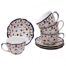 Chelsea Garden Tea Cups and Saucers, Set of 4
