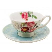 Botanical Blue Bird Tea Cups and Saucers, Set of 4