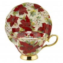Gold Poinsettia Bone China Cups with Saucers Single Set