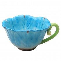 Blue/Pink Hand Crafted Latte Cups, Set of 2