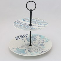 Blue Viola  2 Tier  Small Serving Tray