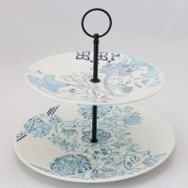 Blue Viola  2 Tier Large Serving Tray