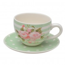 Scatter Rose Green Stripes Green Tea Cup Saucer, Set of 4