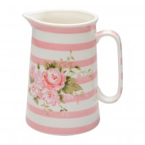 Scatter Rose Green Stripes Pink Small Pitcher