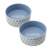 Fido's Diner Dog Bowl-Blue Dots, Set of 2