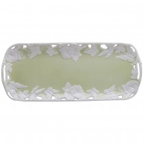 Green Rectagular Morning Glory Butterfly Tray