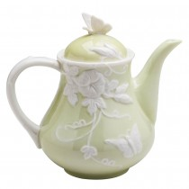 Green Rectagular Morning Glory Butterfly Teapot