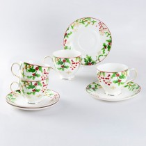 Holly Berry Tea Cups and Saucers, Set of 4