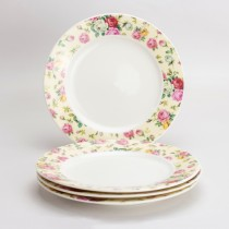 Cream Cottage Rose Chintz Dessert Plates, Set of 4