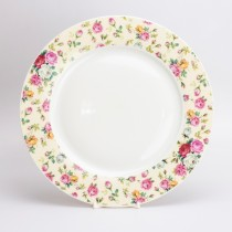 Cream Cottage Rose Chintz Dinner Plates, Set of 4