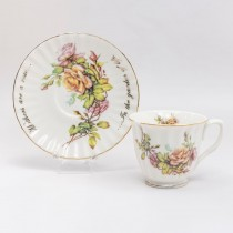 Family Quote Tea Cup Saucer, Set of 2