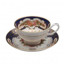 Emperor Cobalt Gold Teacups and Saucers, Set of 2