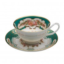 Emperor Emerald Gold Teacups and Saucers, Set of 2