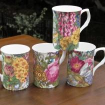 4 A Botanical Can Mugs, Set of 4