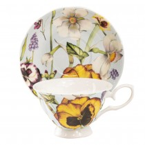 Yellow Pansy Blue Bone China Teacups and Saucers, Set of 4