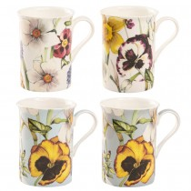 4 ASST Summer Pansy Bone China Can Mugs, Set of 4