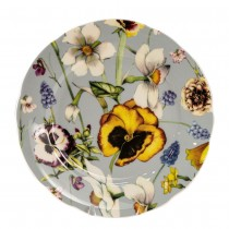 Pansy Grey Bone China Dessert Plates, Set of 4