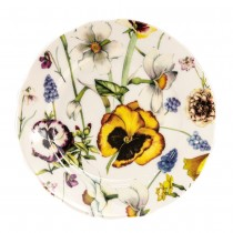 Summer Pansy Bone China Dessert Plates, Set of 4