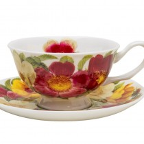 Spicy Poppy Tea Cup Saucers, Set of 4