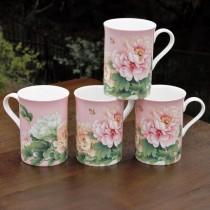 Bone China Empire Pink  Peony Tea Mugs, Set of 4