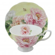 Bone China Empire Peony Tea/coffee  Cups and Saucers, Set of 4