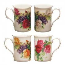 4 Color English Rose Mugs, Set of 4