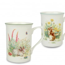 2 asst Brown/white  Bunny Bone China Mugs, Set of 4