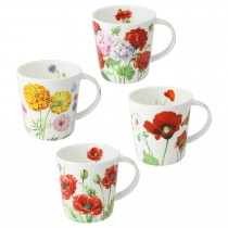 4 Assorted 16 oz Bone China Yellow/Orange Bloom Mugs, Set of 4