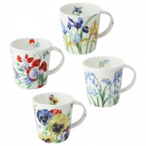 4 Assorted 16 oz Bone China Purple/Blue Mugs, Set of 4