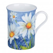 Daisy w/Pastel Blue Can Mugs, Set of 4