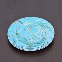 Cherry Blossom Blue Dessert Plates, Set of 4
