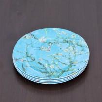 Cherry Blossom Blue Dessert Plates, Set of 4