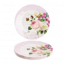 Liz Garden Bone China Scallop Salad Plates, Set of 4