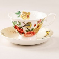 Liz Garden Yellow Tea Cups and Saucers, Set of 4