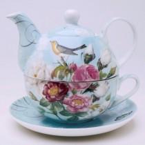 Botanical Blue Bird 4 Piece Tea for One