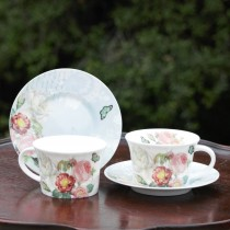 Botanical Blue Bird Bone China Coffee Cups and Saucers, Set of 4