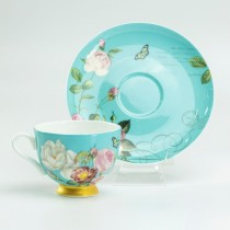 Blue Butterfly  Rose Bone China Demi Coffee Cups and Saucers, Set of 4