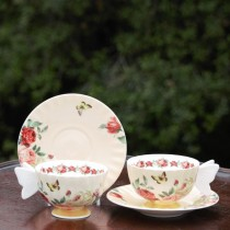 Butterfly Handle Rose Bone China Coffee Cups and Saucers, Set of 4
