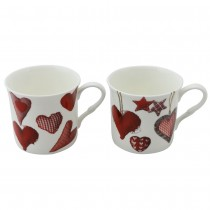 4 asst Stitch Heart Mugs, Set of 4