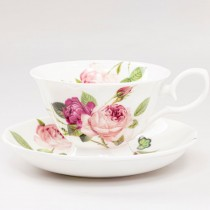 Kensington Pink Rose Teacups and Saucers, Set of 4